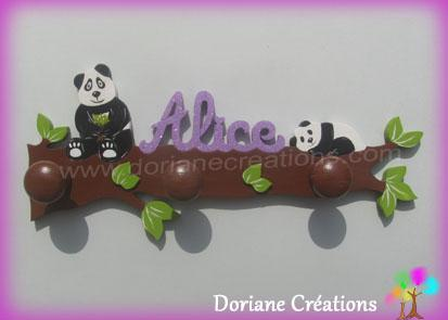 Porte manteau bois pandas avec prenom alice