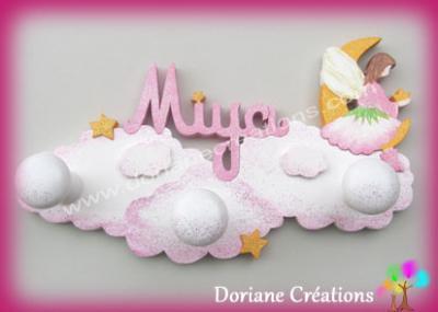 portemanteau elfe sur nuages avec prénom