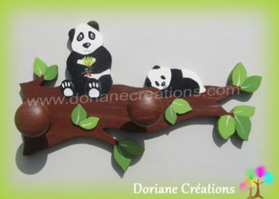 08- Porte manteau en bois branche avec 2 pandas