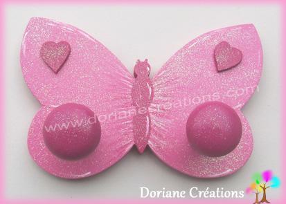 Porte manteau papillon rose