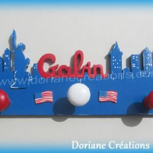 Porte manteau theme new york avec prenom