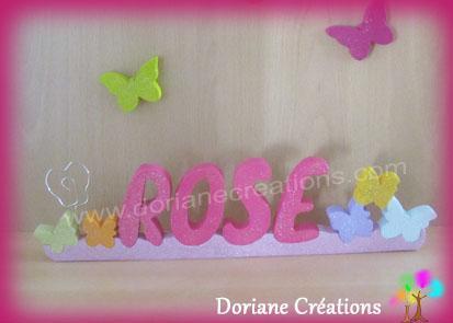 Porte photo mural prenom bois papillons