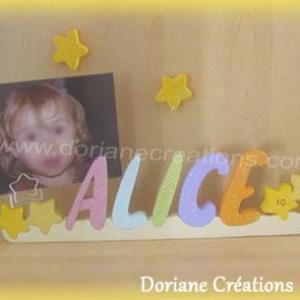 Porte photo prenom bois etoiles paillettes date naissance1