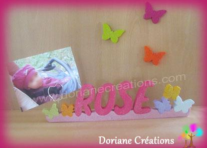 Porte photo prenom bois papillons paillettes