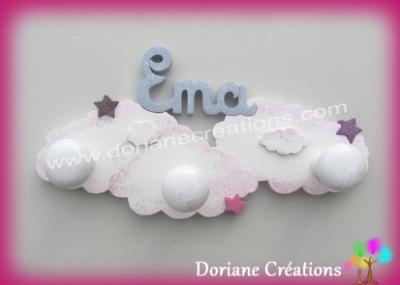 Portemanteau nuages avec prénom
