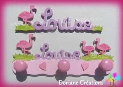 Portemanteau flamants roses avec prénom