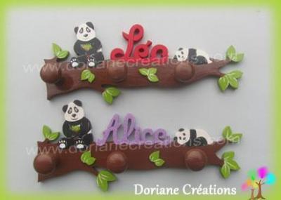 Portemanteau bois pandas avec prenom