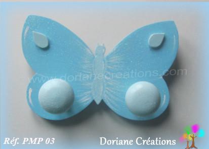 Portemanteau bois papillon bleu 03