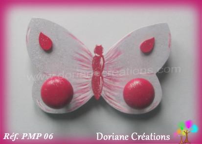 Portemanteau bois papillon gris framboise 06