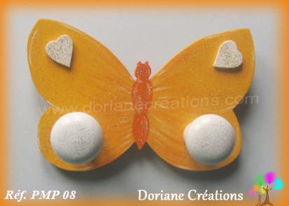 Portemanteau bois papillon jaune et orange 08