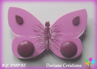 Portemanteau bois papillon rose 02