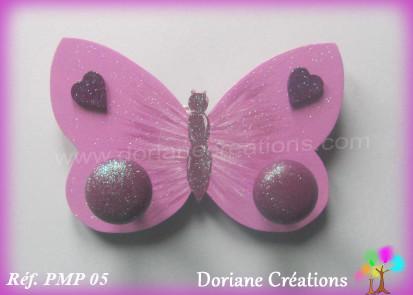 Portemanteau bois papillon violet 05