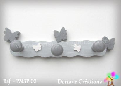 Portemanteau bois papillons gris 02