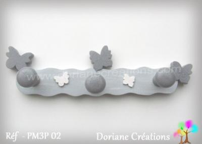 12 Portemanteau bois gris clair papillons