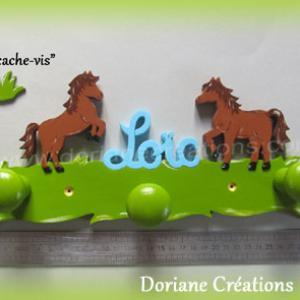 Portemanteau decor cheval avec prenom 3 pateres