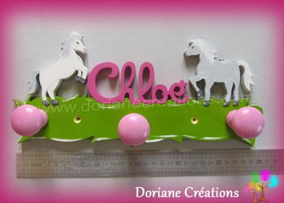 Portemanteau decor cheval avec prenom fille