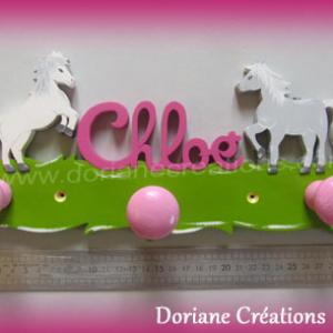Portemanteau decor cheval avec prenom fille