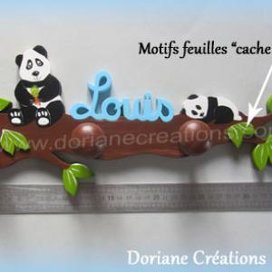Portemanteau decor pandas avec prenom