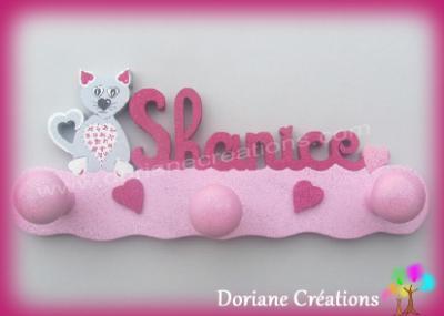 Portemanteau chat coeur avec prénom