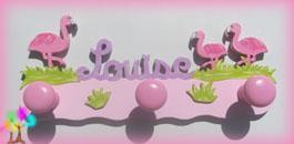 Portemanteau enfant prenombois flamants roses