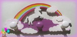 Portemanteau enfant prenombois licorne arc en ciel