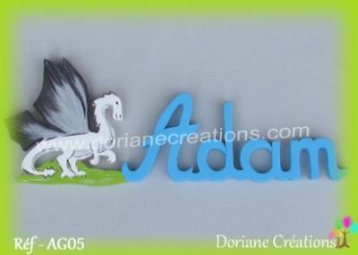 Prénom lettres bois décor dragon