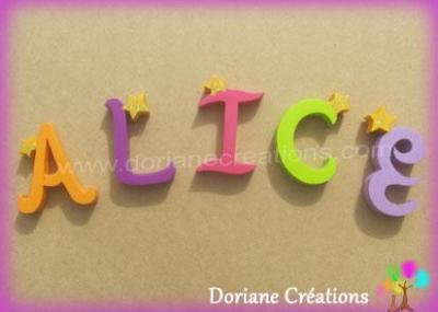 Lettres en bois étoiles ALICE