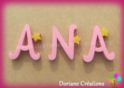 Lettres en bois étoiles ANA