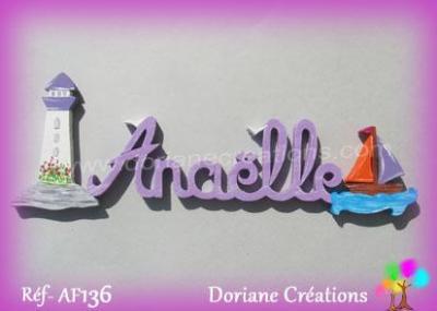 Prénom lettres en bois Anaëlle