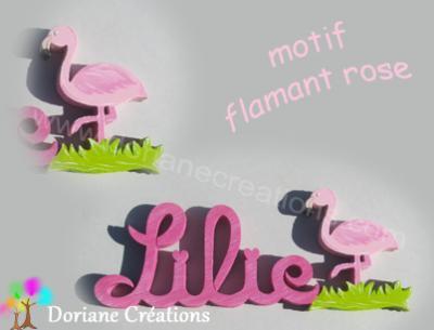 23- Motif flamant rose pour prénom en bois