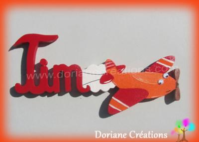 03 lettres - Prénom en bois avion