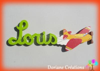 05 lettres - Prénom en bois avion