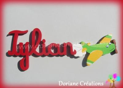 06 lettres - Prénom en bois avion