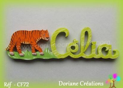 Prenom bois celia decor tigre