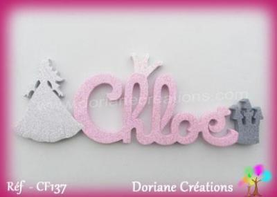 Prénom lettres bois avec décor silhouette princesse