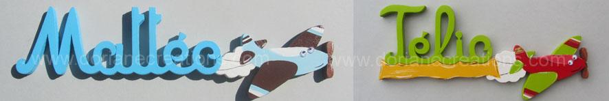Prenom bois decor avion