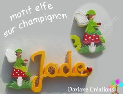 16- Motif prénom en bois elfe champignon