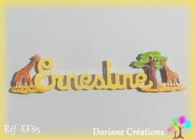 Prénom lettres bois éléphant et girafe