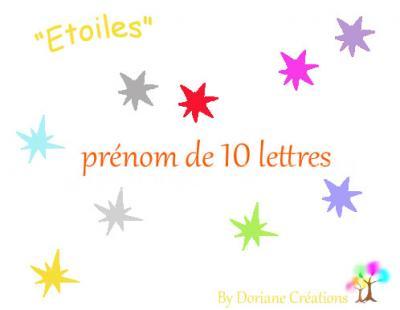 10 Lettres - prénom en bois avec étoiles