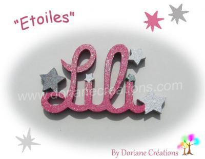 04 Lettres - prénom en bois avec étoiles
