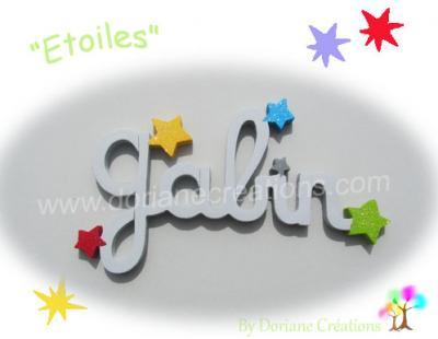 05 Lettres - prénom en bois avec étoiles