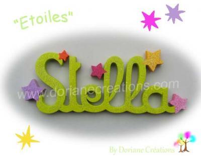06 Lettres - prénom en bois avec étoiles