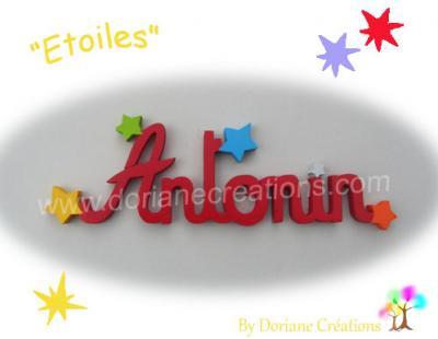 07 Lettres - prénom en bois avec étoiles