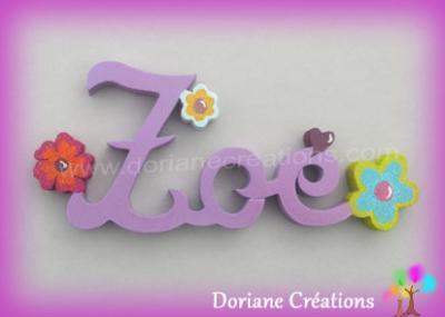 03 lettres -Prénom en bois fleurs fantaisies