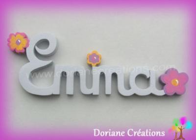 04 lettres -Prénom en bois fleurs fantaisies