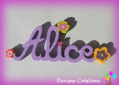 05 lettres -Prénom en bois fleurs fantaisies
