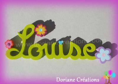06lettres -Prénom en bois fleurs fantaisies