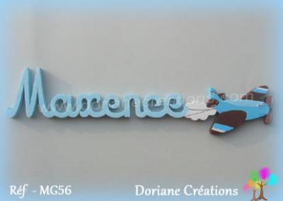 07 lettres - Prénom en bois avion