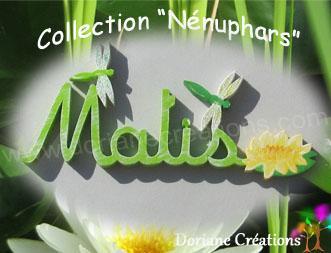 05 Lettres - Prénom libellules et nénuphar