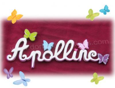 08 lettres - PRENOM EN BOIS BLANC papillons